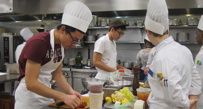 Medical students in cooking class