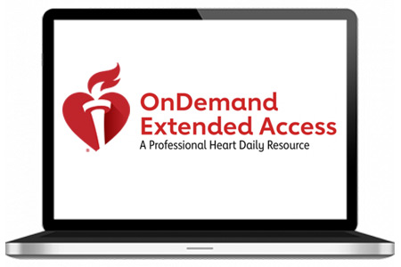 Laptop screen showing OnDemand Extended Access: A Professional Heart Daily Resource