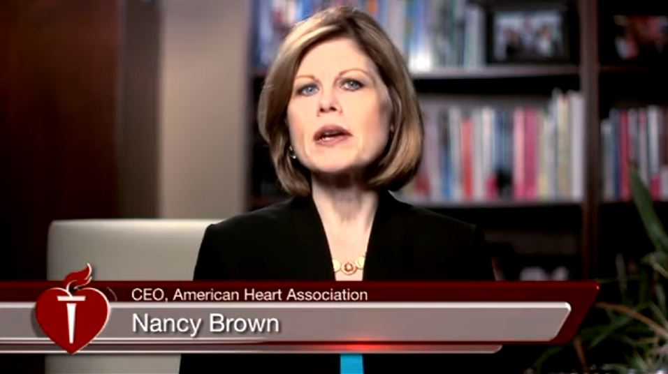 Screen capture featuring AHA CEO Nancy Brown talking in the American Heart Association Releases E-Cigarette Policy Statement video.